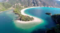 Blue lagoon from Oludeniz - Aerial video