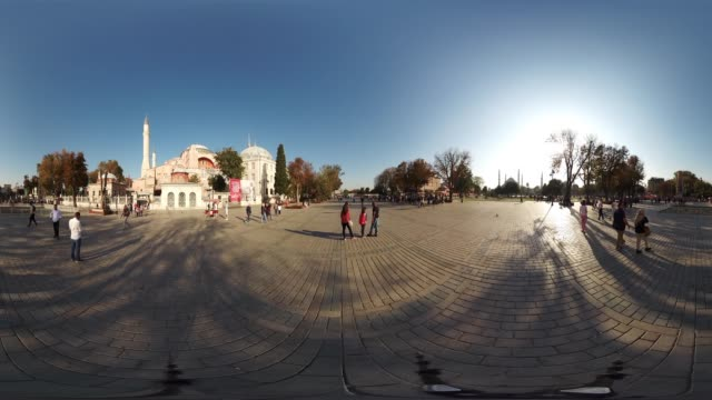 Blue Mosque and Hagia Sophia in Sultanahmet Square in Istanbul Turkey November 01 2017 There are many tourist visiting everyday to historical famous...