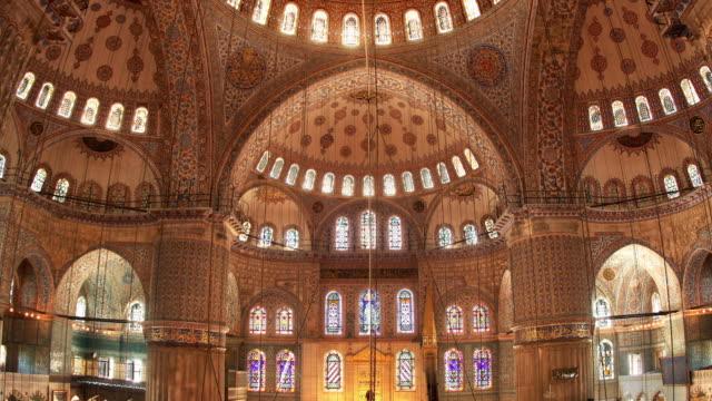 T/L CU ZO LA Blue Mosque illuminated interior, Istanbul, Turkey
