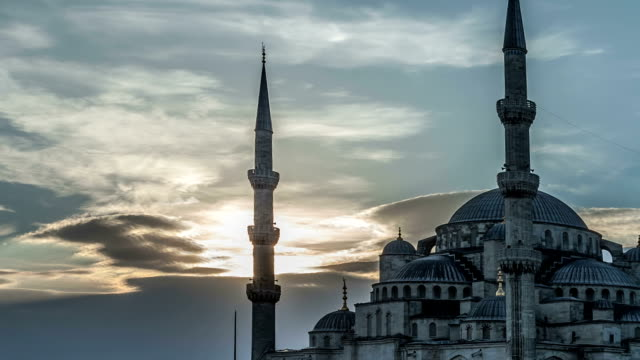 Blue Mosque in Istanbul at Sunset. HD Time Lapse