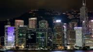 Blue Night in Hong Kong - Central District, Victoria Harbor, Hong Kong Island and Kowloon, Hong Kong.
