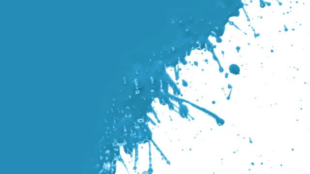 Blaue Farbe splattering. Übergang