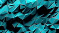 Blue polygonal geometric surface vibrating.