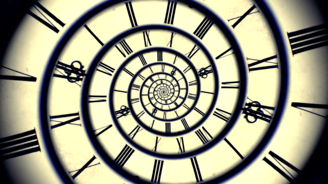 blue spiral retro clock animation