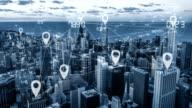 Blauwe Toon city scape en netwerk verbinding
