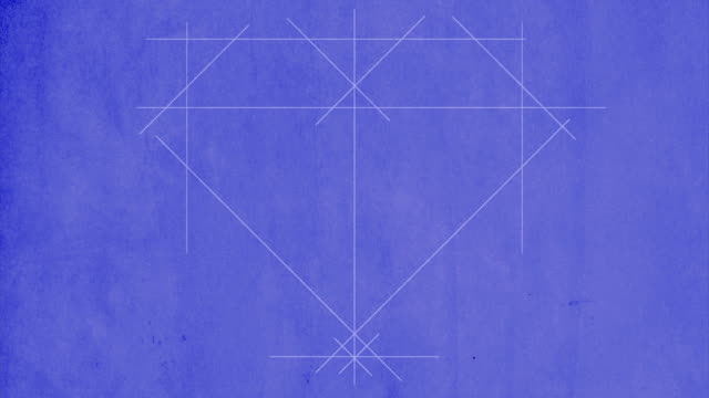 Blueprint drawing of a heart with arrow