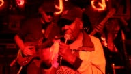 Blues harmonica player songwriter and vocalist 'Cadillac' John Nolden performs at Red's on his 86th birthday April 12 2013 in Clarksdale Mississippi...