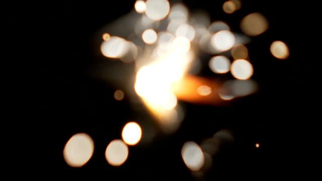 Blurred burning sparkler close up
