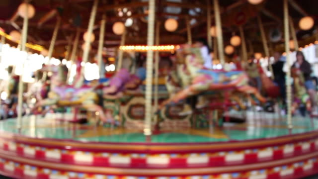Blurred fairground carousel ride