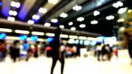 4K Blurred motion : Traveler crowd at Airport.