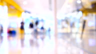 Blurred people walking in shopping center