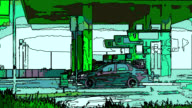 ANIME: blurry filling gas station