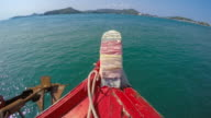 WS T/L POV Boat navigates from Koh Samae San Island to Sattahip District, Chonburi, Thailand