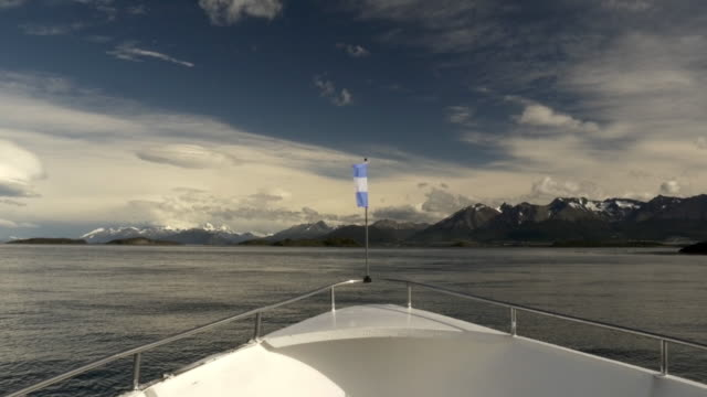 A boat navigating on the Beagle Channel in Argentina