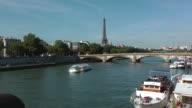 Boat passing through River Seine in Paris, France