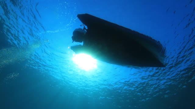 Boat silhouette underwater
