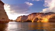 boat POV TS through Antelope Canyon canal in Glen Canyon National Recreation Area of Lake Powell  / Page, Arizona, USA