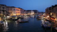WS Boat traffic on Grand Canal at night / Venice, Italy