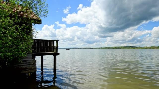 Boathouse on Lake Ammersee, Inning Stegen, Fuenfseenland, Upper Bavaria, Bavaria, Germany