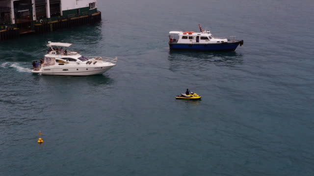 Boats and Jetski in Hong Kong Harbor