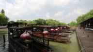 Boats docked on the South Lake,Jiaxing,Zhejiang,China