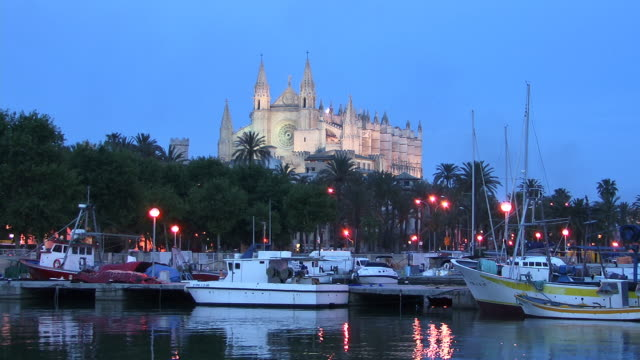 WS, Boats in harbor with La Seu cathedral in background illuminated at dusk, Spain, Balearic Islands, Mallorca, Palma