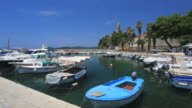Boats in the harbour of Lopud Island, one of the Elaphiti Islands, Dalmatia Coast, Croatia.