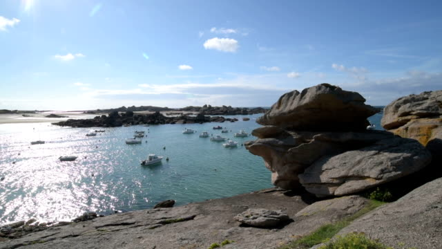 Boats moored at Cote de Granit Rose