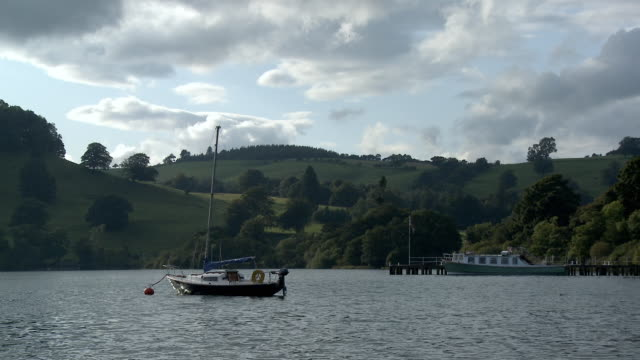 WS, Boats mooted on Ullswater, Lake District, Cumbria, England