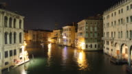 T/L WS HA Boats on Grand Canal at night / Venice, Italy