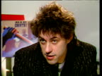 Bob Geldof in studio talking about financial success of Band Aid 11 Dec 84