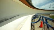 Bobsleigh passing through frame deglazed track
