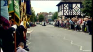 Bodies of British soldiers killed in Afghanistan repatriated hearses through Wootton Bassett ENGLAND Wiltshire Wootton Bassett EXT Police outriders...