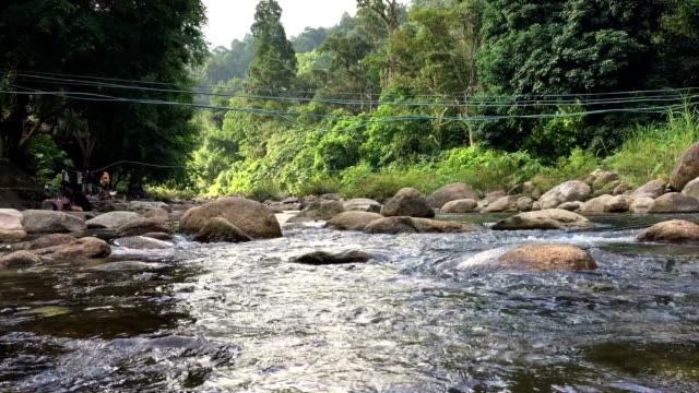 Body of mountain river water flowing