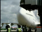 London Heathrow Airport LA MS nose of 747 taxiing slowly towards as taking place on its stand David Learmount intvwd checks haven't been given the...