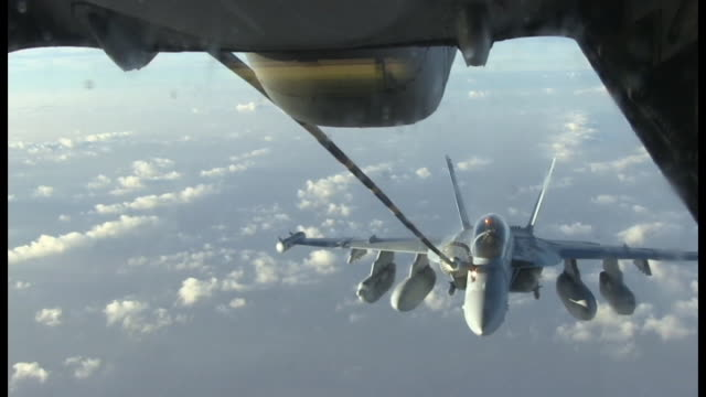 Boeing EA18G Growler Air refueling with Close Up above Al Dhafra Air Base UAE
