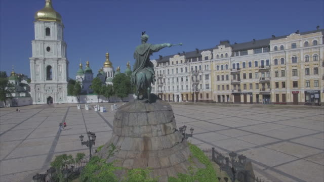 Bohdan Khmelnytsky Monument on Sophia Square in Kiev, aerial view