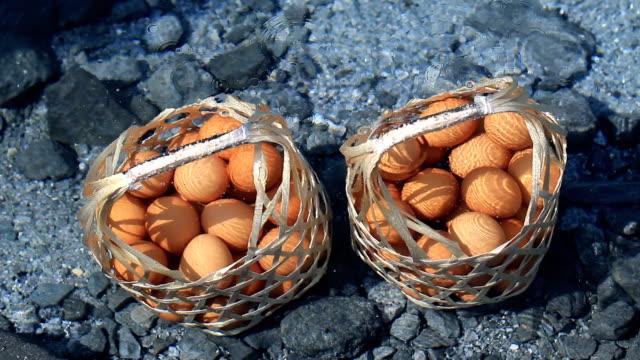 Boiled eggs in hot spring.