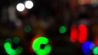 Bokeh circle light blurred at night time in the amusement park , Time-lapse movement