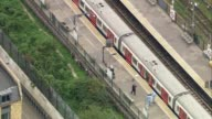 Bomb explodes on Tube train at Parsons Green Air views of attack scene ENGLAND London Parsons Green VIEWS / AERIALS investigation at scene of bomb on...