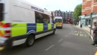 Bomb explodes on Tube train at Parsons Green ENGLAND London Parsons Green EXT Police van full og police officers along with sirens heard SOT Police...