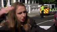 Bomb explodes on Tube train at Parsons Green Lauren Hubbard interview SOT Poice vans along past with sirens