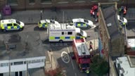 Bomb explodes on Tube train at Parsons Green Witness accounts AIR VIEW Police vehicles and fire service vehicle at scene