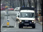 Bomb found in Whitehall phone box ENGLAND London Whitehall GV Police in Whitehall with area cordoned off GV Fire Engines and police at scene TGV...