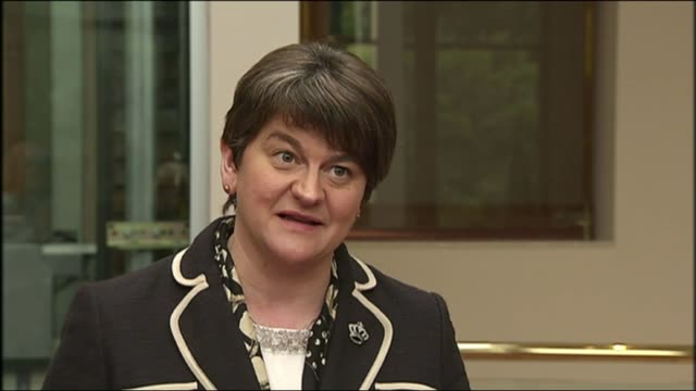 Bombardier US tariff row / Belfast jobs at risk INT Arlene Foster up stairs Arlene Foster MLA interview SOT on importance of Bombardier to Northern...