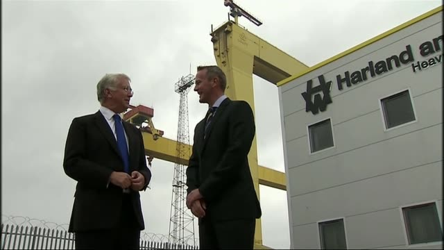 Bombardier US tariff row / Belfast jobs at risk Various shots of Sir Michael Fallon at Harland and Wolff shipyard to unveil name of new warship HMS...