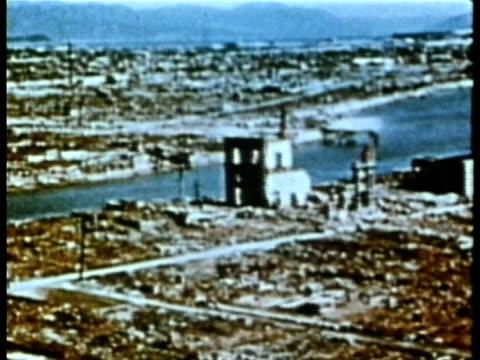 Bombed devastation of Nagasaki after atomic bomb AUDIO / Nagasaki Japan
