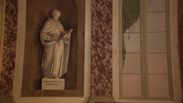 Bonaventura Cavalieri - white stone statue inside Pavia University lecture theatre in Italy