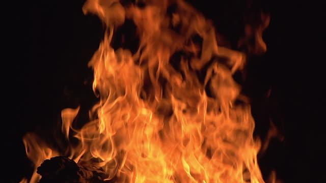 CU SLO MO Bonefire, Fire flames in campfire / Moremi Reserve, Botswana, South Africa