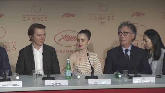Bong Joon Ho Tilda Swinton Jake Gyllenhaal Paul Dano SeoHyun Ahn HeeBong Byun Steven Yeun Lily Collins at 'Okja' Press Conference at Palais des...